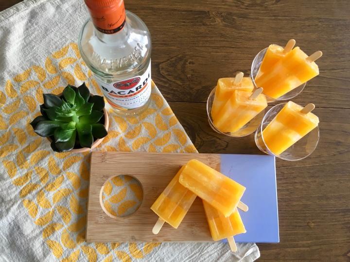Boozy Mango, Tangerine, Coconut Popsicles